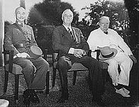 Generalissimo Chiang Kai-shek of China (left), Roosevelt (middle), and Winston Churchill (right) at the Cairo Conference in 1943
